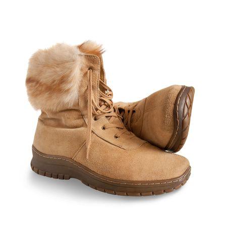 furskin: Shammy fur  boots  isolated on white background