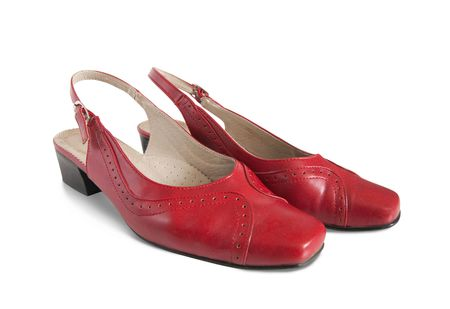 womanish: Red womanish shoes Stock Photo
