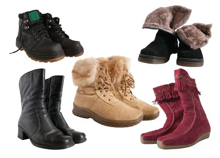 Set of different wintry boots photo