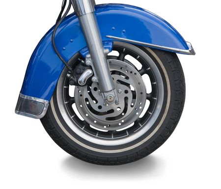 decelerator: blue wheel of big motorcycle. Isolated over white