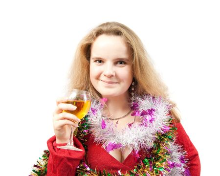 New Years Eve party girl toasting the new year with a little wine, Isolated photo