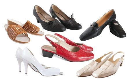 Set of different  womanish shoes isolated on  white background photo