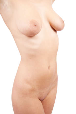 Slim female torso on white background