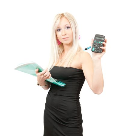 Beautiful girl in business outfit with  documents and calculator over white Stock Photo - 5754588