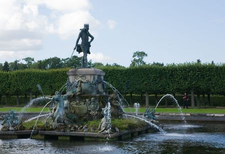 beauty fountain: beauty fountain with  sculpture of Neptune at Peterhof, Russia
