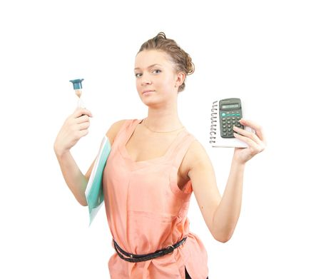 Young businesswoman with calculator and sand glass Stock Photo - 5754529