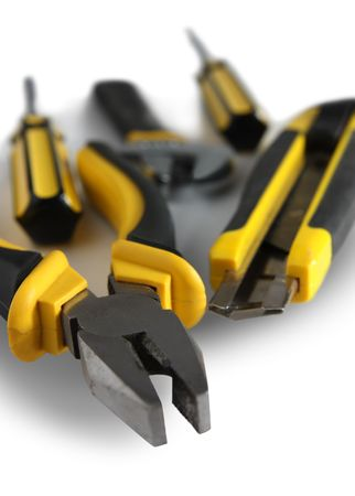 screwdriwer: set of yellow tools over white background  Stock Photo