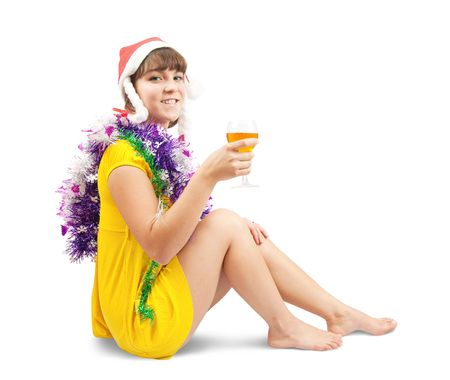 beautiful girl celebrating New Year. Isolated over white photo