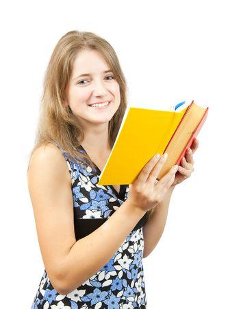Reading teen girl over white background