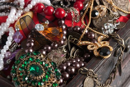 background of Closeup of Treasure chest  with valuables Stock Photo - 5855576
