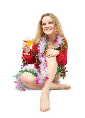beautiful girl celebrating New Year. Isolated over white Stock Photo - 5846449