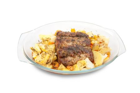 mini oven: steak with potato on glass plates grilled microwave oven