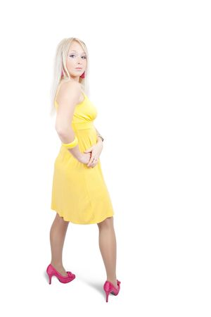 velure: Rear view of  girl in yellow  dress. Isolated with clipping path