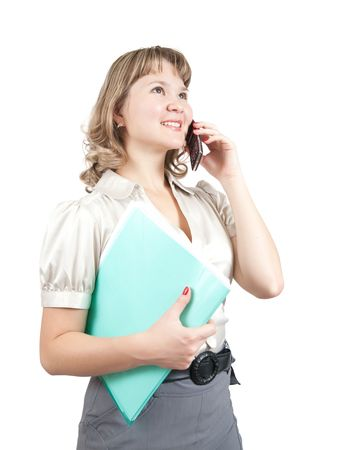 businesswoman  with  documents  speaking by mobile over white photo