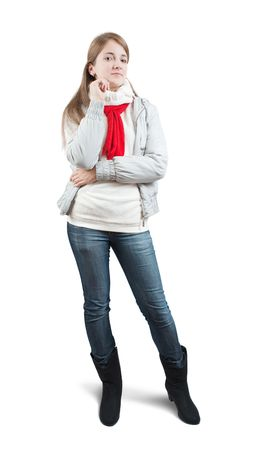 girl  in wintry jacket and red   scarf  over white  Stock Photo - 5918098