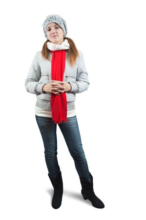 girl  in wintry jacket and red   scarf  over white Stock Photo - 5918095