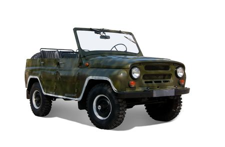 auto hoist: Vintage offroad military  car. Isolated on white background Stock Photo