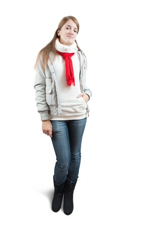 girl  in wintry jacket and red scarf  over white  photo