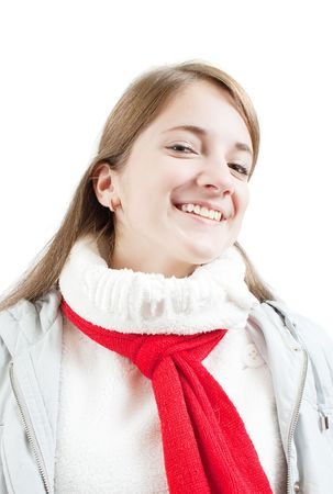 Portrait of girl  in wintry clothes over white photo