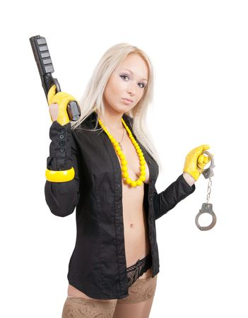 sexy woman in underwear with a gun and manacles isolated on white Stock Photo - 5969178
