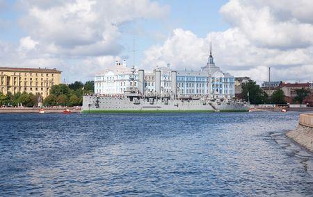 View of St. Petersburg, Russia. Aurora - symbol of revolution in Russia  photo