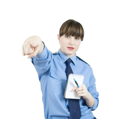 pointing woman in uniform. Focus on hand Stock Photo - 5979476