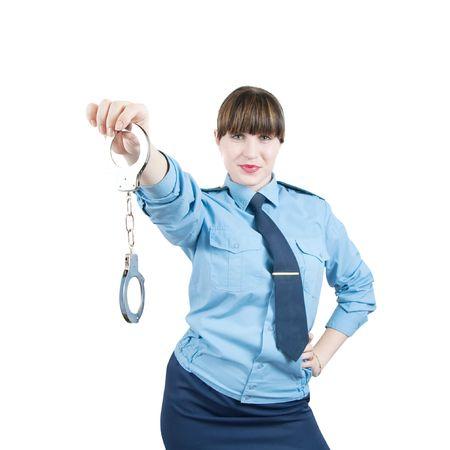 woman in uniform with manacles, isolated over white Stock Photo - 5979469
