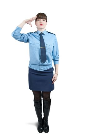 Isolated full length studio shot of woman in uniform  over white photo