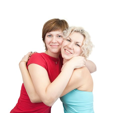 picture of two young girlfriends over white Stock Photo - 6031353