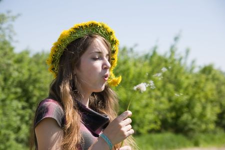 Young girl blowing seeds of a dandelion flower Stock Photo - 6030640