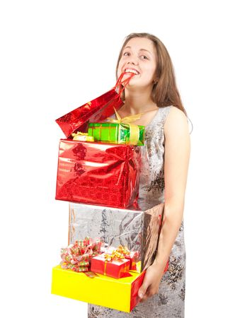 happy  girl with coloured shopping present bags  photo