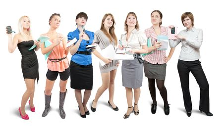 Group of business women. Isolated over white background Stock Photo - 6030752