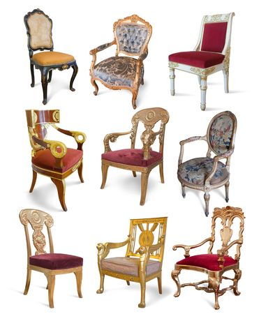 Set of golden vintage luxury chairs over white photo