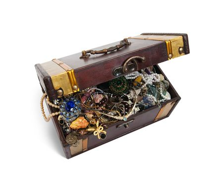 wooden treasure chest with valuables, isolated over white background Stock Photo - 6066168