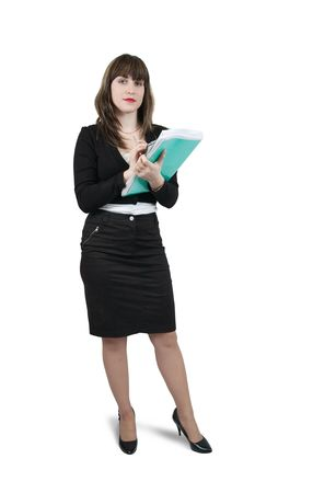 Isolated full length studio shot of businesswoman  writing on her notepad Stock Photo - 6064022