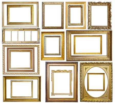 Set of  20 Vintage gold picture frame, isolated with clipping path photo