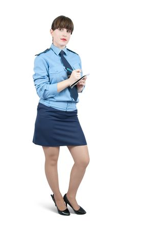 woman in uniform writing something on a notebook over white Stock Photo - 6081173