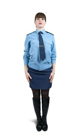 Isolated full length studio shot of woman in uniform  over white Stock Photo - 6081127