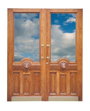 decor vintage  wooden door. Isolated over white Stock Photo - 6081178