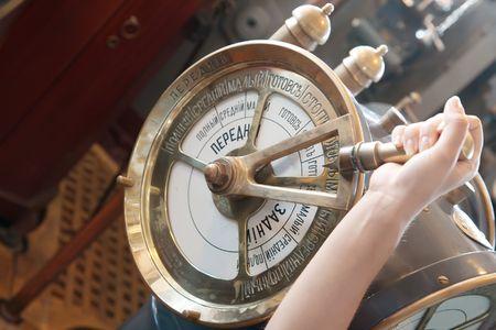 The speed telegraph transmitter on old cruiser  photo
