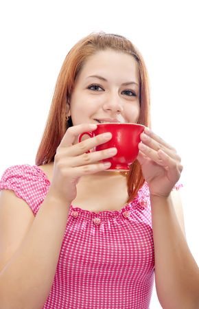 girl in pink dress with a red cup   photo