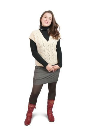 Isolated full length rear view studio shot of girl in  sweater and high shoes photo