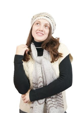 Portrait of Long-haired girl in sweater and cap over white Stock Photo - 6101433