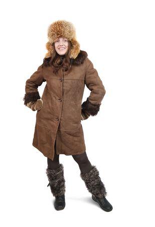 Girl in sheepskin coat and fox cap on white background Stock Photo - 6101448