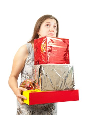 a nice girl holding coloured festive boxes  Stock Photo - 6101431