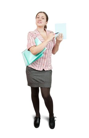 Isolated full length studio shot of  businesswoman pointing on empty paper.  photo