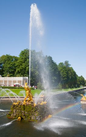 beauty fountain: beauty fountain shoots up at Petergof, Saint Petersburg, Russia