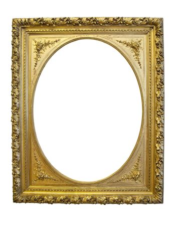 Vintage gold oval picture frame isolated with clipping path over white photo