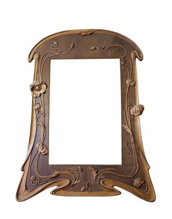 Vintage wooden picture frame, isolated with clipping path over white Stock Photo - 6123190