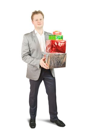 positive businessman with present boxes. Isolated on white Stock Photo - 6123223